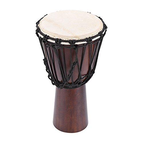 Galleria fotografica ammoon Djembe Africano Professionale 8in Tamburo a Mano Bongo Percussione Strumento Musicale Selezionare Corpo di Legno Duro Capo di Capra