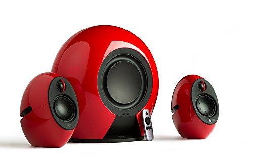 Edifier E235 RD Luna 2.1 Home-Entertainment-System mit Buetooth (aptX), kabellosem Subwoofer, optischem Eingang und Fernbedienung, 176W rot