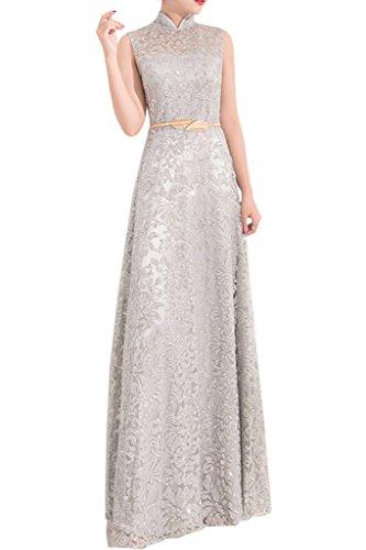 ... Ivydressing Damen Elegant Stehkragen Guertel Tuell Partykleid Promkleid  Festkleid Abendkleid Silber ...