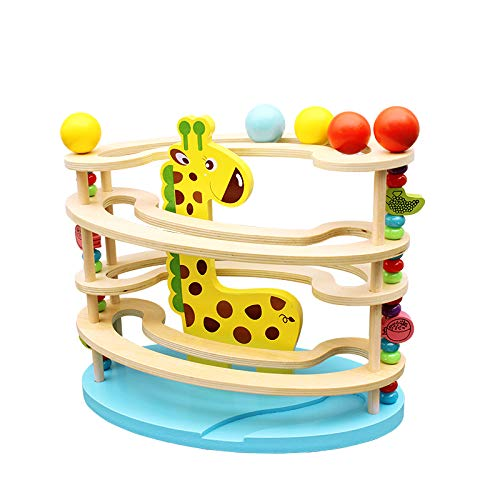 BeebeeRun Kugelbahn aus Holz , Murmelbahn mit 3 Kugels,Premium Holzkugelbahn mit Zubehör in leuchtenden Farben , Kinder ab 3 Jahr