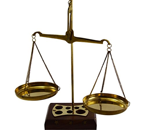 Brass Weighing Scale Balance Justice Law Scale with Soft Wooden Box Decoration