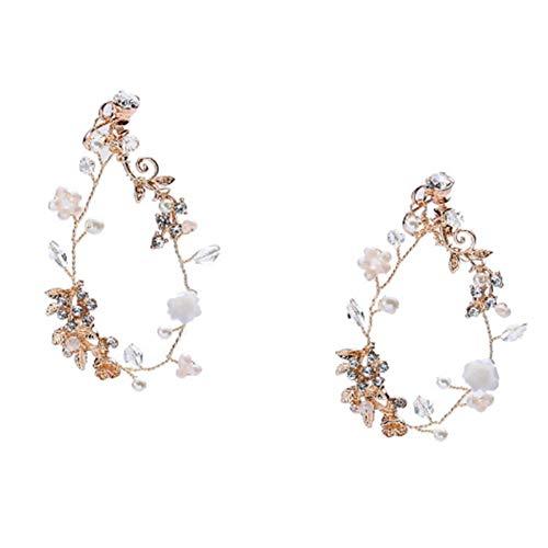 (Amorar Handgemachte Boho Blume Fliege Stirnband Haar Kranz Halo Floral Garland Krone für Festival Hochzeit, Kopfbedeckung mit Band)