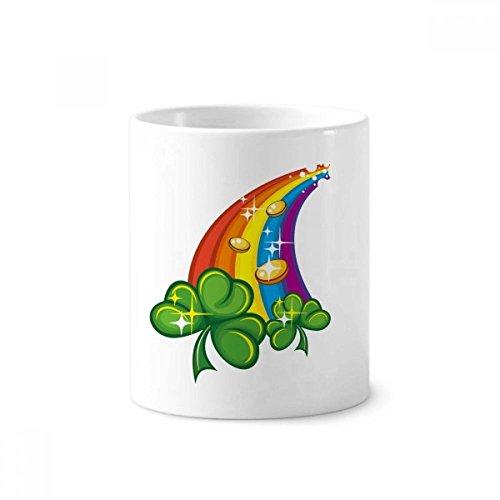 DIYthinker Klee Regenbogen Irland St.Patrick Tages Keramik Zahnbürste Stifthalter Tasse Weiß Cup 350ml Geschenk 9.6cm x 8.2cm hoch Durchmesser -
