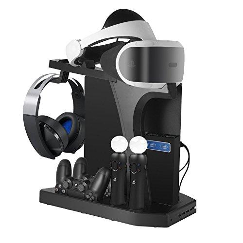 DACCKIT Soporte Vertical de Carga y visualización para Playstation VR - Controladores estación de Carga Showcase con Ventilador de refrigeración Compatible con Playstation 4, PS4 Pro, PS4 Slim