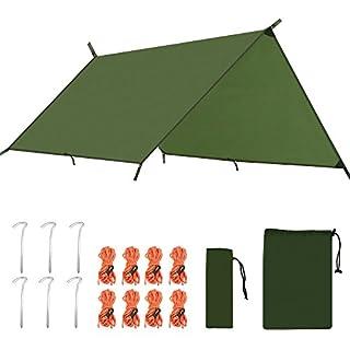 ANGGO 3m wasserdicht Camping Plane Shelter Plane tragbar leicht Hängematte Regen Fly Zelt Plane Anti UV-Ripstop Sonnenschutz für Camping Wandern Rucksackreisen, olivgrün