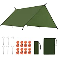 ANGGO 3mx3m Waterproof Camping Tarpaulin Shelter Tarp Portable Lightweight Hammock Rain Fly Tent Tarp Anti UV Ripstop Sunshade for Camping Hiking Backpacking