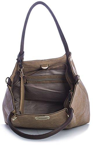 Big Handbag Shop 3-in - 1 Kunstleder-Handtasche Schultertasche Shopper, goldfarbene Schnallen Navy Medium