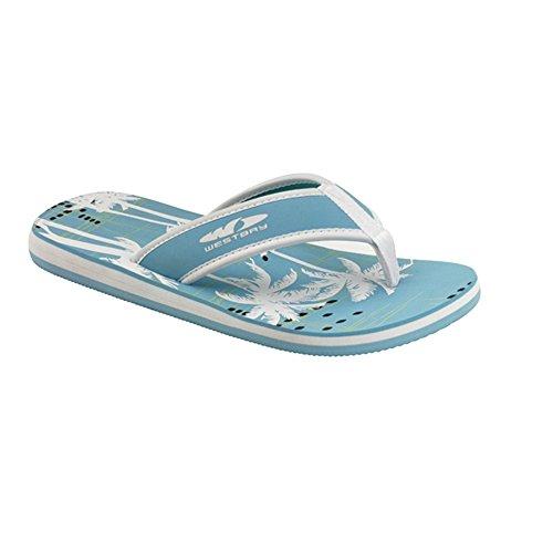 """Westbay® UNISEX V-Strap """"Playa"""" Pantolette Zehentrenner Blau/Weiß"""