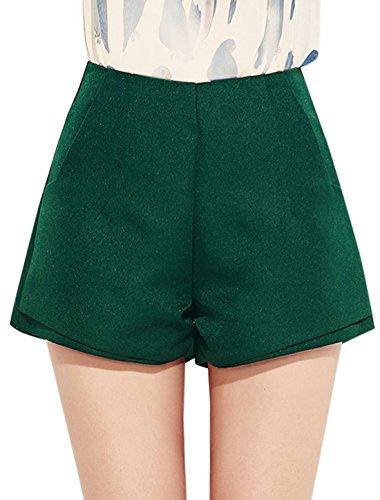 sourcingmap Femme Braguette Zip différencié Ourlet Poches En Biais Jambes Larges Short Vert