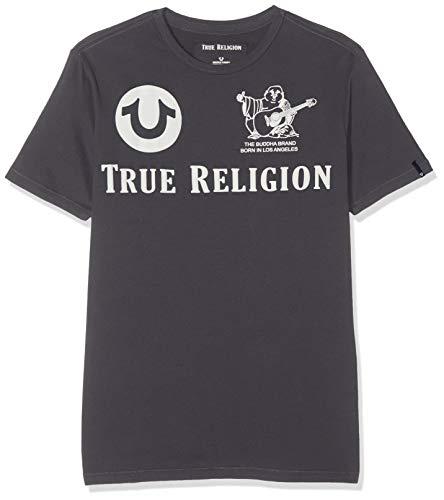 True Religion Herren Crew T-Shirt, Grau (Ebony 1345), X-Large (Herstellergröße: XL)
