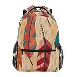 Hipiyoled Mochila Boho Feather Pattern Estilo étnico Lona Mochilas Escolares Laptop Daypack