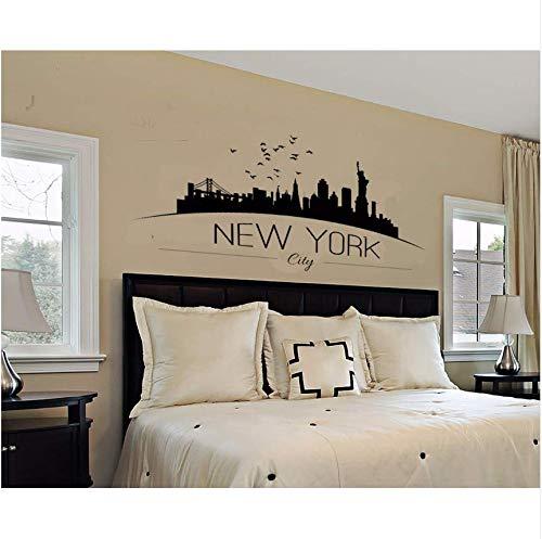 Qthxqa Wohnkultur Große Nyc New York City Skyline Wandtattoos Skyline Silhouette Wandaufkleber Schlafzimmer Dekoration 115 * 56 Cm