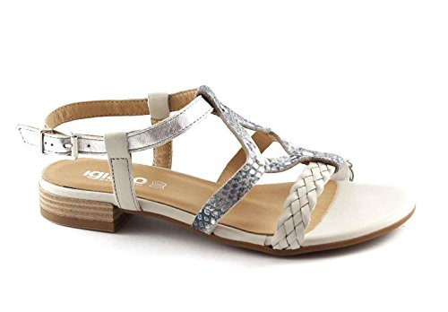 IGI & CO 78322 chaussures Silver Pearl femmes, sandales bracelet en cuir Argento