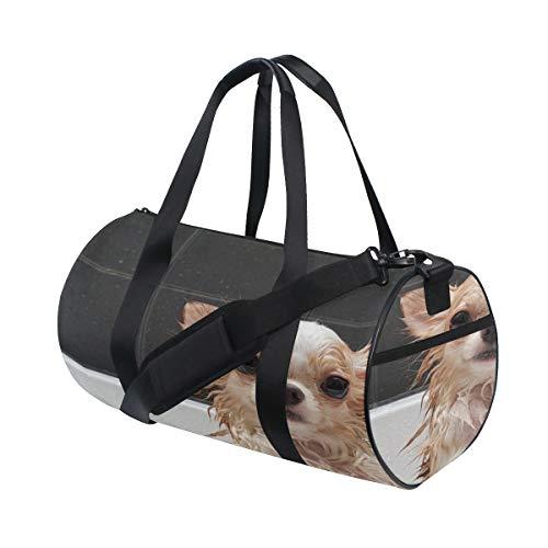 Plosds Hund im Bad benutzerdefinierte leichte große Yoga Gym Totes Handtasche Reise Canvas Seesäcke mit Schulter Crossbody Fitness Sport Gepäck für Mädchen Männer Frauen