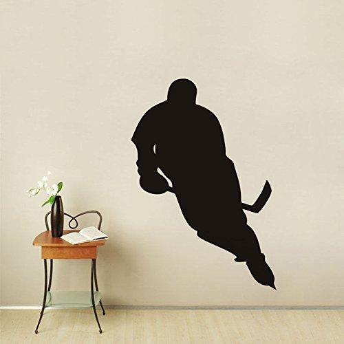 Modeganqingg Sport Silhouette Wandtattoo Kunst Eishockey Spieler Aufkleber Junge Schlafzimmer Abnehmbare Wandtattoo 75 cm X 106 cm