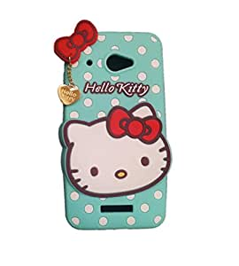 Coversncases Fashion Designer Polka Dot Hello Kitty 3D Soft Silicon Rubber Gel Back Cover Case For HTC Butterfly X920D- Blue