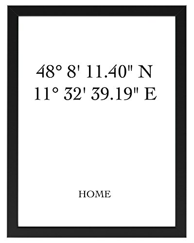 isiertes Poster Home mit Individuellen Koordinaten 30 cm x 40 cm, gerahmt mit Schwarzem Bilderrahmen, GPS-Koordinaten, Poster mit Rahmen (30cm x 40 cm gerahmt) ()