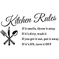 HL(TM) Newest Hot Sale Removable [Kitchen Rules] Wall Stickers Decal Home Decor Vinyl Art Mural