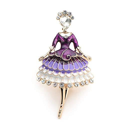 BROCCHAS Roter Emaille Prinzessin Fairy Brosche Ballett Mädchen Bankett Kleid Anzüge Schal Frauen Broschen Pin Größe 5,7 * 3,4 cm, A