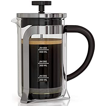 InstaCuppa French Press Coffee Maker 600 ML, 4 Part Superior Filtration System, Heat Resistant Borosilicate Carafe with Measurement Markings
