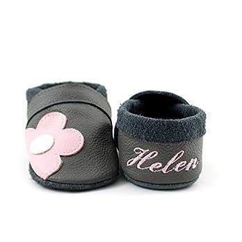 Krabbelschuhe Babyschuhe Lauflernschuhe mit Namensstickerei und Einlagen Blume weiches Leder steingrau
