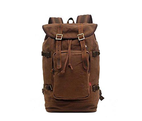 GUOSANSAN Schultern Canvas Rucksack mit großer Kapazität Mode (Farbe : Brown, größe : OneSize)