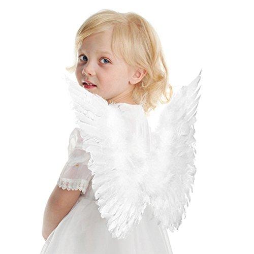 Kostüm Halo Kinder Größe - Engelsflügel Karneval Kostüm Feder Flügel für Kinder 45 * 35 cm Weiß