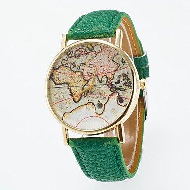 Relojes Hermosos, Hombre Mujer Reloj de Moda Chino Cuarzo Reloj Casual Piel Banda Vintage Mapa del Mundo Negro Azul Rojo Naranja Verde Rosa Morado Amarillo ( Color : Azul )