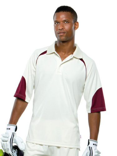 Cooltex Howzat Poloshirt Cream/Maroon