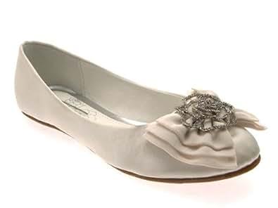 womens low heel flat satin ballet pumps bow