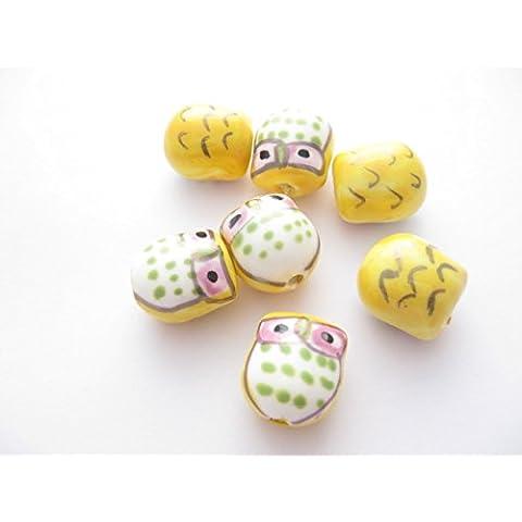 4Fatto a mano giallo famille gufo in porcellana rosa perline 17mm x 15mm. PB006 - 15 Handmade Lampwork