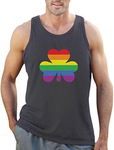 St'Patricks Shamrock Motiv Gay Pride Tank Top Dunkelgrau