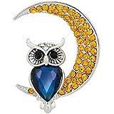 JUNGEN Broche de moda broche de forma de búho creativo con joyas de diamantes de imitación elegante para las mujeres