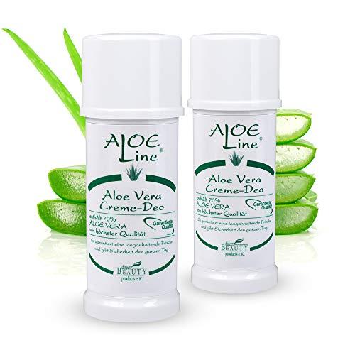 ALOE Line - Aloe Vera Creme Deo - Antitranspirant - Schutz & Pflege für die Haut - Damen & Herren Deo - langanhaltende Frische - enthält 70% Aloe Vera & Allantoin - VEGAN / 2er Pack (2 x 40 ml) Line Stick