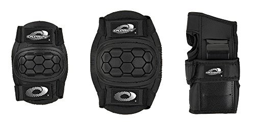 Boys Girls Childs Osprey Skate Cycle Knee, Elbow, Wrist Protection Pads Set - Black Medium