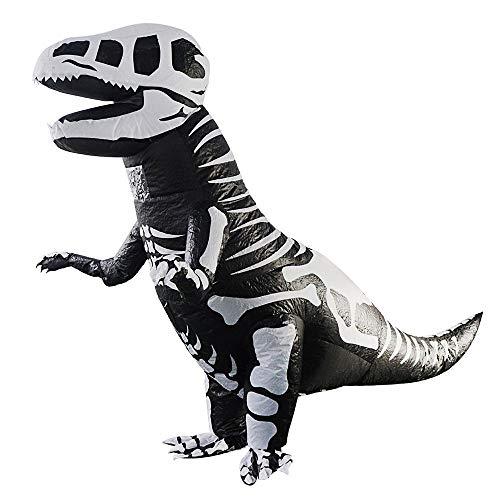 FOONEE Aufblasbares Dinosaurier-Kostüm, Giant Skeleton T-Rex Aufblasbares Dinosaurier-Halloween-Kostüm Kostümanzug - Einheitsgröße