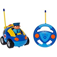 SGILE Remote Control Cartoon Car for Toddlers, RC Police Car Toy with Light and Music, Gift for 3 Years Old Kids