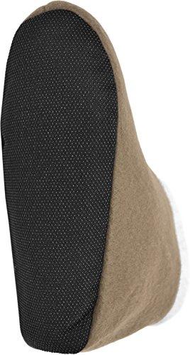 Kuschelweiche und sehr warme Herren Slippers Hausschuhe aus Fleece mit ABS Sohle Beige