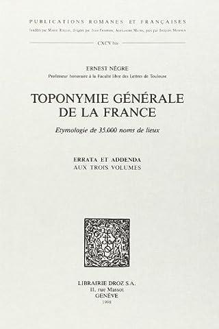 Toponymie générale de la France : Etymologie de 35000 noms