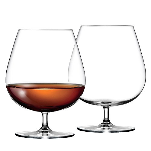 Large CRYSTAL Cognac Glasses - Hi Quality Cognac Balloon Glass Set of 2 - Perfect for Brandy, Whisky, Baileys Crystal Brandy Glass