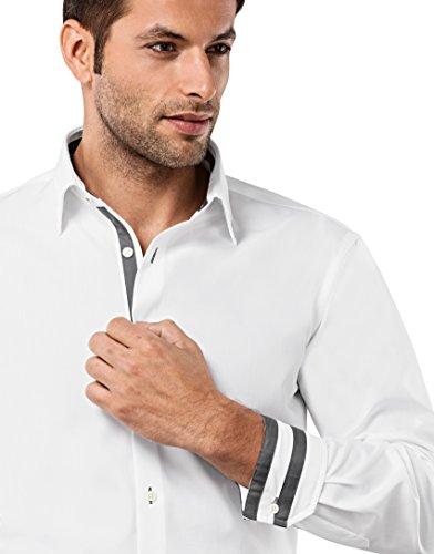 Vincenzo Boretti Herren-Hemd Bügelfrei 100% Baumwolle Regular-Fit Uni-Farben New-Kent Kragen - Männer Lang-Arm Hemden für Anzug mit Krawatte Business Hochzeit Freizeit Weiß/Anthrazit