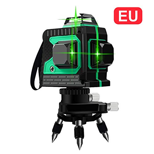 3D Nivel de Láser 12 Línea Luz verde de Alta Precisión Instrumento de Fijación Nivelación de Plano de Tierra con Control Remoto Inteligente Impermeable IP54 Antigolpes a Prueba de Polvo Con trípode