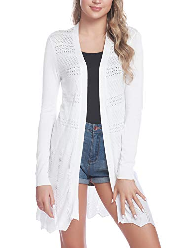 Sykooria Cardigan Damen Langarmshirt Loose Fit Einfarbig Hautfreundlich Leistung Outwear Strickjacke Weiß