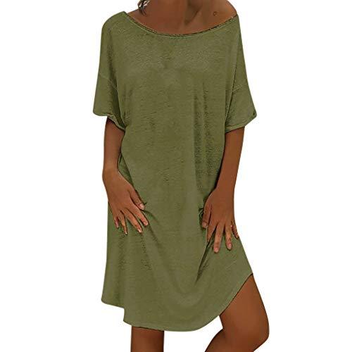LOPILY Lose Tunika Blusenkleider Damen Sommer Lässige Spitzensaum V-Ausschnitt Kleider Strandkleid Einfarbig Einfach Bequem Freizeit Knielang Sommerkleider Übergröße (X2_Grün, EU-42/CN-XL) - Damen Designer Business-anzüge