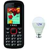 IKALL K55 Dual Sim 1.8 Inch Display Basic Feature Phone Mobile With 12 Watt Led Bulb - Red