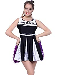 Surepromise Womens Cheerleader Fancy Dress Outfit High School Musical Squad Uniform Costume