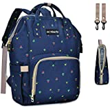 Motherly Stylish Babies Diaper Bags for Mothers with 1 Bottle Bag + 1 Diaper Changing Mat + 1 Set of Stroller Hooks (Blue Flower)