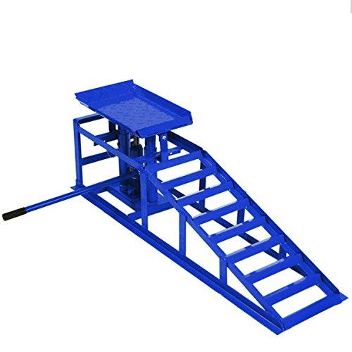 Helo 1x KFZ Auffahrrampe mit Wagenheber hydraulisch 2 T Hebelast (blau), höhenverstellbar (max. 245 mm Reifenbreite), PKW Rampe mit integrierter Wagenheber Hebebühne