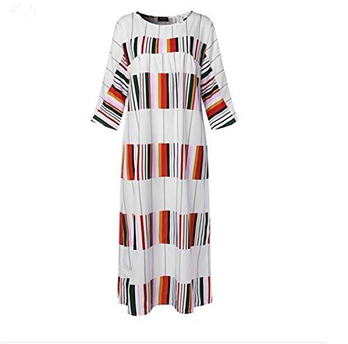 Women Maxi White Dress Casual Long Sleeve Color Block Striped Print Loose Long Maxi Party Dress Vestidos Verano 2019 White XXXL -