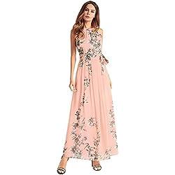 antaina Floral Mangas de la Impresión Cóctel Vestido de Noche Largo de la Gasa de Las Mujeres de Color Rosa Playa,S